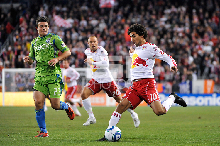 Mehdi Ballouchy (10) of the New York Red Bulls plays the ball. The New York Red Bulls defeated the Seattle Sounders 1-0 during a Major League Soccer (MLS) match at Red Bull Arena in Harrison, NJ, on March 19, 2011.