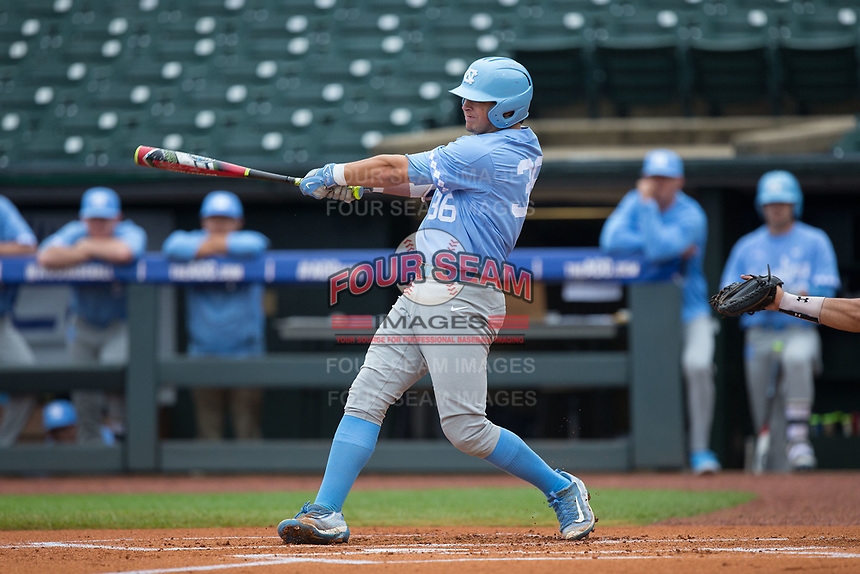 Ashton McGee (36) of the North Carolina Tar Heels connects for a 2-run triple in the top of the first inning against the Boston College Eagles in Game Five of the 2017 ACC Baseball Championship at Louisville Slugger Field on May 25, 2017 in Louisville, Kentucky.  The Tar Heels defeated the Eagles 10-0 in a game called after 7 innings by the Mercy Rule. (Brian Westerholt/Four Seam Images)
