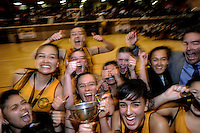 Wellington Girls' celebrate winning the 2014 College Sport Wellington senior girls' Basketball Championship final between the Wellington Girls' College and Hutt Valley High School at Te Rauparaha Arena, Porirua, Wellington, New Zealand on Thursrday, 28 August 2014. Photo: Dave Lintott / lintottphoto.co.nz