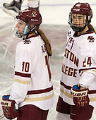 Kali Flanagan (BC - 10), Kate Annese (BC - 24) - The number one seeded Boston College Eagles defeated the eight seeded Merrimack College Warriors 1-0 to sweep their Hockey East quarterfinal series on Friday, February 24, 2017, at Kelley Rink in Conte Forum in Chestnut Hill, Massachusetts.The number one seeded Boston College Eagles defeated the eight seeded Merrimack College Warriors 1-0 to sweep their Hockey East quarterfinal series on Friday, February 24, 2017, at Kelley Rink in Conte Forum in Chestnut Hill, Massachusetts.