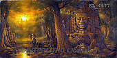 Interlitho, LANDSCAPES, LANDSCHAFTEN, PAISAJES, paintings+++++,bayonne temple, cambodia,KL4477,#L# #161# ,puzzles