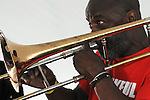 Craig Harris, playing Trombone, at the Annual Jazz in the Valley Festival,  in Waryas Park in Poughkeepsie, NY, on Sunday, August 21, 2016. Photo by Jim Peppler. Copyright Jim Peppler 2016 all rights reserved.