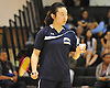 Jia Zhang of Jericho gets ready to serve during the Nassau County varsity girls badminton singles final against Stacy He of Great Neck North at Bellmore JFK High School on Saturday, May 14, 2016. Zhang won 19-21, 21-18, 21-20 to repeat as county champion.
