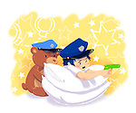 Illustrative image of boy in police uniform aiming with gun by teddy bear representing aspiration