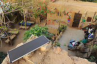 MALI, Bandiagara , hostel with solar panel in Dogon village
