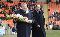 Terry Alcock carries flowers in memory of Fred Pickering<br /> <br /> Photographer Kevin Barnes/CameraSport<br /> <br /> The EFL Sky Bet League One - Blackpool v Oxford United - Saturday 23rd February 2019 - Bloomfield Road - Blackpool<br /> <br /> World Copyright © 2019 CameraSport. All rights reserved. 43 Linden Ave. Countesthorpe. Leicester. England. LE8 5PG - Tel: +44 (0) 116 277 4147 - admin@camerasport.com - www.camerasport.com