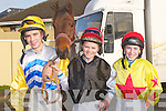 JOCKEYS: Young Jockeys from Kerry who took part and rode in the Ballyheigue Races on Sunday on Ballyheigue Beach, L-r; Kevin Bouder (Listowel), Denis Lenihan (Tralee) and jack kennedy (Dingle) with one of the horses who was raceing at the races, (pair of Jacks).....