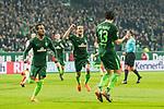 12.03.2018, Weserstadion, Bremen, GER, 1.FBL, SV Werder Bremen vs 1. FC Koeln<br /> <br /> im Bild<br /> Milos Veljkovic (Werder Bremen #13) bejubelt seinen Treffer zum 1:0, Theodor Gebre Selassie (Werder Bremen #23) und Thomas Delaney (Werder Bremen #6) jubeln mit, <br /> <br /> Foto &copy; nordphoto / Ewert