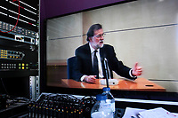 Media watch images of the institutional video signal showing the President of the Government, Mariano Rajoy, during his testimony at the National Court in San Fernando de Henares (Madrid) In the macrojudgment of corruption of the Gürtel plot.