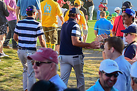 Phil Mickelson (USA) and Kevin Kisner (USA) make their way to 17th tee during round 1 foursomes of the 2017 President's Cup, Liberty National Golf Club, Jersey City, New Jersey, USA. 9/28/2017.<br /> Picture: Golffile   Ken Murray<br /> ll photo usage must carry mandatory copyright credit (&copy; Golffile   Ken Murray)