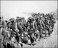 BNPS.co.uk (01202 558833)Pic: HistoryPress/Wikimedia/BNPS<br /> <br /> 8th Battalion Cheshire Regiment marching in desert, 1917. <br /> <br /> The remarkable story of a humble street which was described by the king as 'the bravest in England' is told in a new book.<br /> <br /> The inhabitants of Chapel Street in Altrincham, Greater Manchester, displayed an unrivalled devotion of duty when Lord Horatio Kitchener made the rallying call for men to enlist in the First World War.<br /> <br /> From the tight-knit community of just 60 houses, a staggering 161 men volunteered - 81 of them on the first day.<br /> <br /> Tragically, however, 29 men from the street were killed in action, more than from any other street in England.