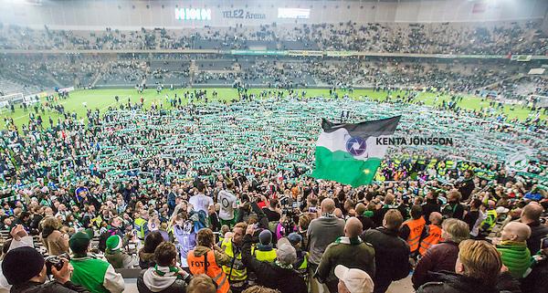 Stockholm 2014-11-02 Fotboll Superettan Hammarby IF - J&ouml;nk&ouml;pings S&ouml;dra IF :  <br /> Vy &ouml;ver Tele2 Arena n&auml;r Hammarbys spelare Kennedy Bakircioglu och Stefan Batan med lagkamrater firar tillsammans efter matchen mellan Hammarby IF och J&ouml;nk&ouml;pings S&ouml;dra IF <br /> (Foto: Kenta J&ouml;nsson) Nyckelord:  Superettan Tele2 Arena Hammarby HIF Bajen J&ouml;nk&ouml;ping S&ouml;dra IF J-S&ouml;dra supporter fans publik supporters inomhus interi&ouml;r interior jubel gl&auml;dje lycka glad happy