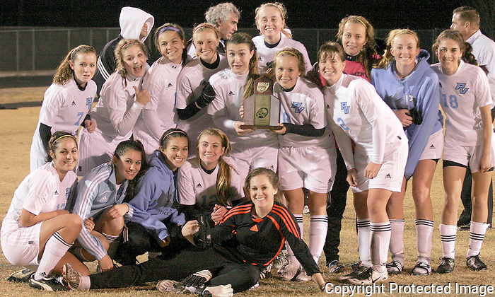 Gary Wilcox/specialÉ01/23/09..  Ponte Vedra High girls Soccer team holds their trophie during a team photo after winning the district 5-4A championship game at Menendez High Friday night.(01/23/09).   Ponte Vedra  won 3 to 0.