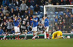 Elgin Players celebrate Neil Alexander's OG as Rangers are gutted, captain David Niven leads the celebrations