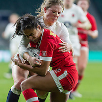 Lydia Thompson tackles Magali Harvey, England Women v Canada Women in an Old Mutual Wealth Series, Autumn International match at Twickenham Stadium, London, England, on 26th November 2016. Full time score 39-6