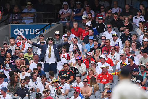 30th December 2017, Melbourne Cricket Ground, Melbourne, Australia; The Ashes Series, fourth test, day 5, Australia versus England; Barmy Army fans chanting during the closing day of the boxing day test
