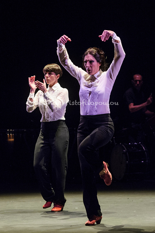 London, UK. 18.02.2018. Dramatist Pedro G. Romero and flamenco dancers Ursula López, Tamara López and Leonor Leal present Painter and Flamenco: J.R.T. as part of the Flamenco Festival London 2018 at Sadler's Wells Theatre, 18 Feb. Photo shows: Leonor Leal, Úrsula López. Photo - © Foteini Christofilopoulou.