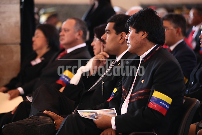 Venezuelan President and presidential candidate Nicolas Maduro during the inauguration of the book fair of Caracas, Venezuela.Maduro will face opposition leader Henrique Capriles in a national election to choose the successor of Hugo Chavez.in the picture president Nicolas Maduro and President of Bolivia Evo Morales