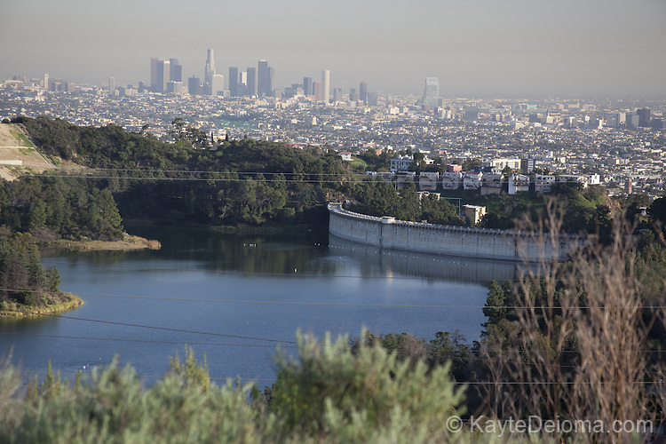 View overlooking Lake Hollywood to Downtown Los Angeles from the Hollywood Hills, Los Angeles, CA