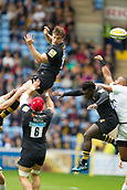 1st October 2017, Ricoh Arena, Coventry, England; Aviva Premiership rugby, Wasps versus Bath Rugby;  Rob Miller goes arial for the kick-off high ball