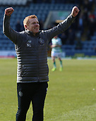 17th March 2019, Dens Park, Dundee, Scotland; Ladbrokes Premiership football, Dundee versus Celtic; Celtic Caretaker Manager Neil Lennon celebrates the win after the final whistle