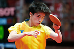 Masataka Morizono (JPN), <br /> AUGUST 27, 2018 - Table Tennis : <br /> Men's Team Preliminary Round <br /> at JIExpo Kemayoran Hall B <br /> during the 2018 Jakarta Palembang Asian Games <br /> in Jakarta, Indonesia. <br /> (Photo by Naoki Morita/AFLO SPORT)