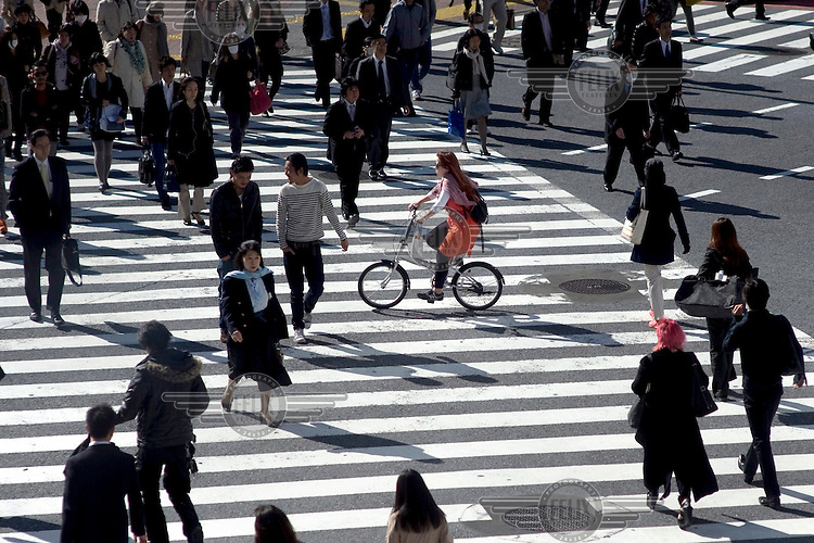 A busy pedestrian crossing (Zebra Crossing) in Shibuya. /Felix Features