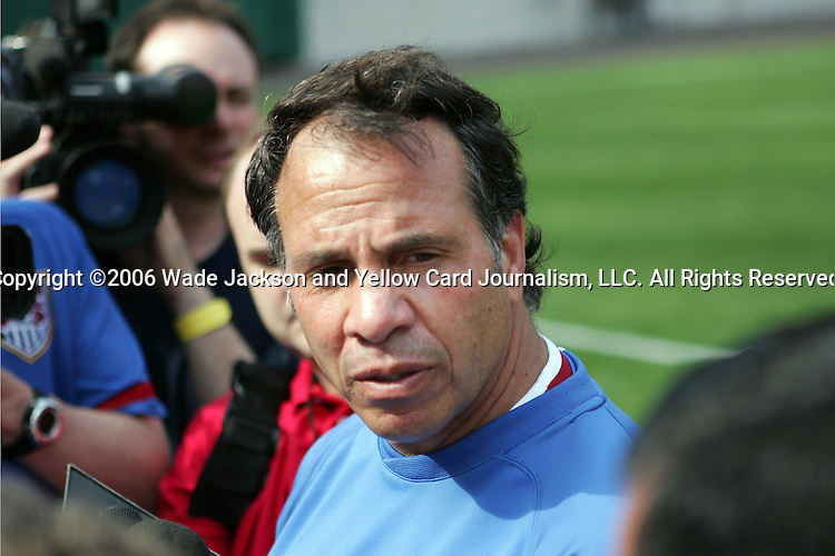 25 May 2006,  Coach, Bruce Arena fields questions from the media after practice.  The USA Mens National soccer team held a practice session before taking on Venezuela in an international friendly match at Cleveland Browns Stadium in Cleveland, Ohio in their preparation for competition at World Cup 2006 in Germany.