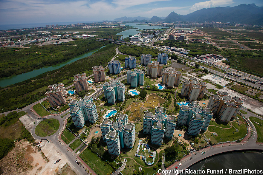 Urban sprawl, Barra da Tijuca borough in Rio de Janeiro, Brazil - americanized lifestyle - construction of luxury condominiums with leisure infrastructure and business centers.  The real estate 'boom' in Rio right after the city was chosen for the 2016 Summer Olympic Games affected the prices in Barra that will host most of the venues of the Games.