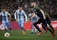 Europa League quarter-final 1st leg <br /> S.S. Lazio - FC Salzburg  Olympic Stadium Rome, April 5, 2018.<br /> Salzburg's Valon Berisha kicks a penalty and scores during the Europa League match between Lazio and Salzburg at Rome's Olympic stadium, April 5, 2018.<br /> UPDATE IMAGES PRESS/Isabella Bonotto