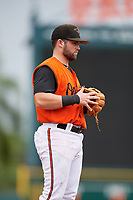 GCL Orioles third baseman Trevor Putzig (43) during a Gulf Coast League game against the GCL Braves on August 5, 2019 at Ed Smith Stadium in Sarasota, Florida.  GCL Orioles defeated the GCL Braves 4-3 in the first game of a doubleheader.  (Mike Janes/Four Seam Images)