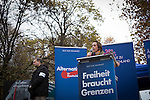 Politician Beatrix von Storch addressing the crowd before a demonstration by the Alternative für Deutschland (AfD) political party through the centre of Berlin. Around 5000 supporters of the AfD took part in the march and rally calling on German Chancellor Angela Merkel to halt the influx of refugees into the country. Around one million refugees from the Middle East and north Africa arrived in Germany during 2015, 50,000 of whom came to Berlin.