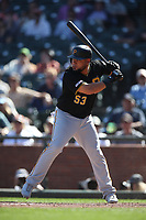 SAN FRANCISCO, CA - SEPTEMBER 12:  Melky Cabrera #53 of the Pittsburgh Pirates bats against the San Francisco Giants during the game at Oracle Park on Thursday, September 12, 2019 in San Francisco, California. (Photo by Brad Mangin)