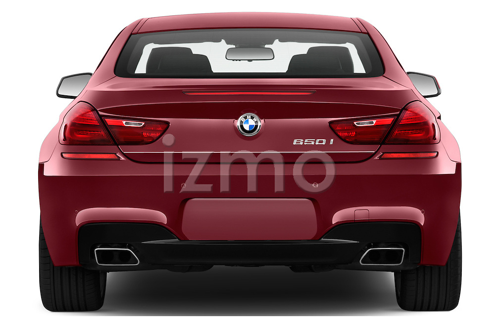 Straight rear view of 2016 BMW 6 Series 650i 3 Door Coupe Rear View  stock images
