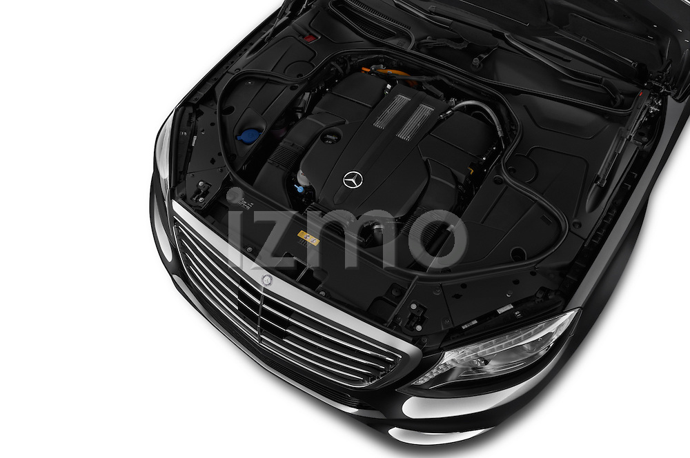 Car Stock 2017 Mercedes Benz S-Class S550-PLUG-IN-HYBRID 4 Door Sedan Engine  high angle detail view