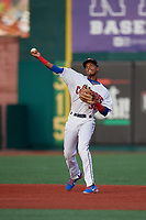Brooklyn Cyclones shortstop Wilmer Reyes (30) throws to first base during a NY-Penn League game against the Tri-City ValleyCats on August 17, 2019 at MCU Park in Brooklyn, New York.  Brooklyn defeated Tri-City 2-1.  (Mike Janes/Four Seam Images)