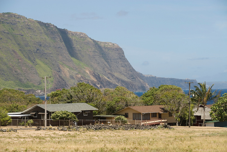 Hawaii: Molokai, leper colony at Kalaupapa. Housing..Photo himolo157-71864.Photo copyright Lee Foster, www.fostertravel.com, lee@fostertravel.com, 510-549-2202
