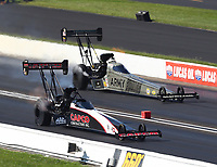 Sep 3, 2018; Clermont, IN, USA; NHRA top fuel driver Billy Torrence (near) races alongside Tony Schumacher during the US Nationals at Lucas Oil Raceway. Mandatory Credit: Mark J. Rebilas-USA TODAY Sports