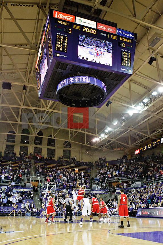 tip off wide shot of alaska airlines arena interior - University of Washington Huskies take on the Seattle University Redhawks at Hec Edmundson Pavilion at Alaska Airlines Arena in Seattle Tuesday, Jan. 10, 2012. (Photography by Andy Rogers/Red Box Pictures)