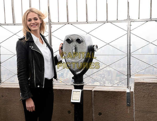 NEW YORK, NY - SEPTEMBER 25: Model Erin Heatherton visits The Empire State Building for a lighting ceremony in Honor  of The  2014 Global  Citizen Festival in  Central Park New York on September 25, 2014 in New York City.  <br /> CAP/MPI/RWPluvoise<br /> &copy;RTNPluviose/MediaPunch/Capital Pictures