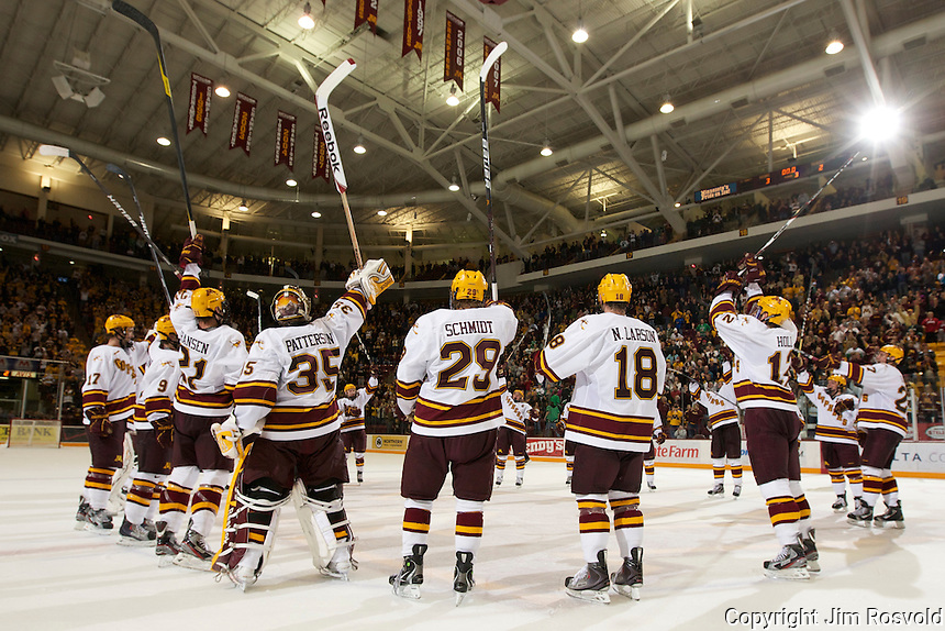 6 Nov 11: Minnesota Stick Salute.  The University of Minnesota Golden Gophers host the University of North Dakota Fighting Sioux in a WCHA matchup at Mariucci Arena in Minneapolis, MN.