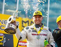 Mar 18, 2018; Gainesville, FL, USA; NHRA top fuel driver Richie Crampton celebrates after winning during the Gatornationals at Gainesville Raceway. Mandatory Credit: Mark J. Rebilas-USA TODAY Sports