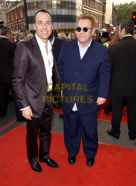 DAVID FURNISH & ELTON JOHN.Attends the opening night and World Premiere of Billy Elliot the Musical, at the Victoria Palace theatre, London, May 12th 2005..full length sunglasses.Ref: DH.www.capitalpictures.com.sales@capitalpictures.com.©David Hitchens/Capital Pictures.