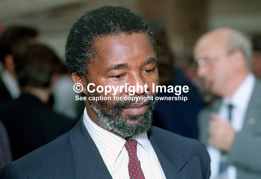 Thabo Mbeki, Director of international Affairs, ANC, African National Congress, South Africa, at annual conference, Labour Party, UK, October 1990. 19901016TM1<br /> <br /> Copyright Image from Victor Patterson,<br /> 54 Dorchester Park, Belfast, UK, BT9 6RJ<br /> <br /> t: +44 28 90661296<br /> m: +44 7802 353836<br /> e1: victorpatterson@me.com<br /> e2: victorpatterson@gmail.com<br /> <br /> For my Terms and Conditions of Use go to<br /> www.victorpatterson.com