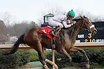 """Jockey Robby Albarado crossing the finish line 1st place aboard """"Liberty Girl"""" in the 3rd race at Oaklawn Park. (Justin Manning/Eclipse Sportswire)"""