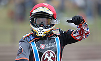 Ben Morley of Lakeside Hammers celebrates after winning Heat 15<br /> <br /> Photographer Rob Newell/CameraSport<br /> <br /> National League Speedway - Lakeside Hammers v Eastbourne Eagles - Lee Richardson Memorial Trophy, First Leg - Friday 14th April 2017 - The Arena Essex Raceway - Thurrock, Essex<br /> &copy; CameraSport - 43 Linden Ave. Countesthorpe. Leicester. England. LE8 5PG - Tel: +44 (0) 116 277 4147 - admin@camerasport.com - www.camerasport.com