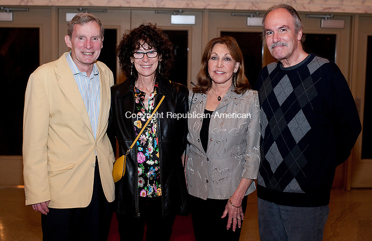 WATERBURY,  CT-051017JS16- Peter Johnson and Laura Bradshaw of Woodbury, left, with Pat Zanelli and Steve Hicks of Southbury, at the Acts 4 Ministries Inspiration: Inspiring Acts of Love fundraiser held at the Palace Theatre in Waterbury. Jim Shannon Republican-American