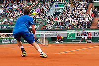 30-05-13, Tennis, France, Paris, Roland Garros,  Novak Djokovic vs Guido Pella(forground) on court Philippe Chatrier, (centercourt)