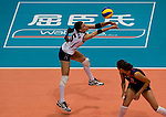 22 August 2010, Hong Kong, China ---  Stacy Sykora of the USA receives serve from China during their volleyball game on the last day of the FIVB World Grand Prix Pool G at the Hong Kong Coliseum stadium. Photo by Victor Fraile --- Image by © Victor Fraile
