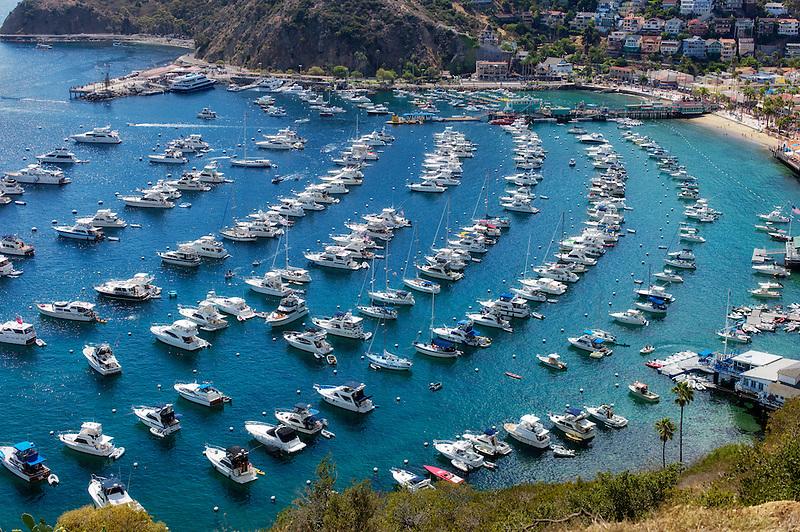 Boats in Catalina Harbor. Catalina Island, California
